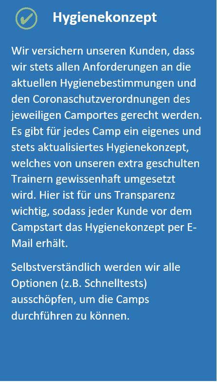 Informationen zu Hygiene und Feriencamps und Corona
