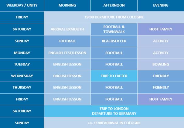 Wochenplan Exmouth Fußballcamp